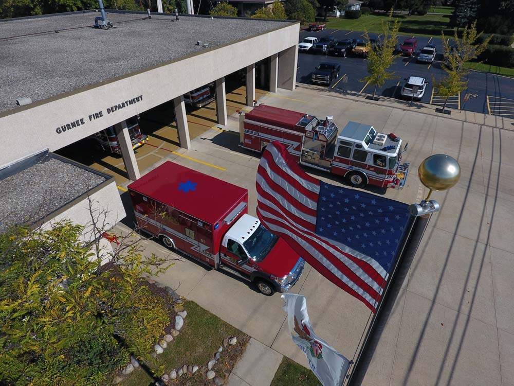 Fire Station 1 with Flag
